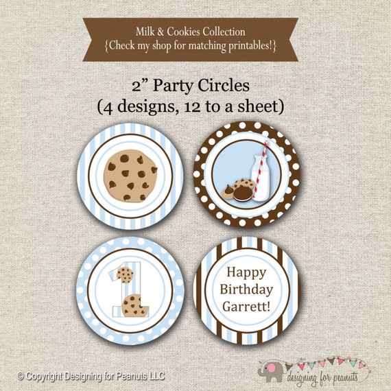 Milk and Cookies Party Circles - blue and brown | Milk and Cookies Cupcake Toppers | Milk and Cookies Birthday Party Printables