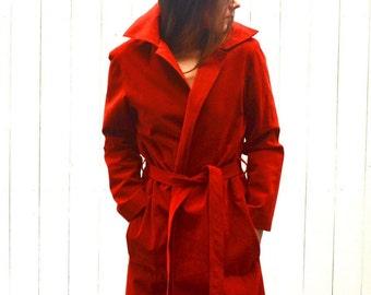 Suede Trench Coat 1960s Red I Magnin Designer Vintage Leather Belted Jacket Large