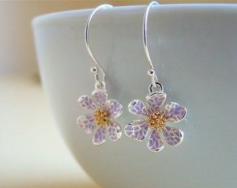 Cute Violet Flowers,  silver tone brass  earrings with sterling silver ear wires