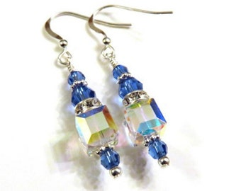 Blue Swarovski Crystal Earrings, Blue Earrings, Blue Crystal Earrings, Blue Cube Earrings
