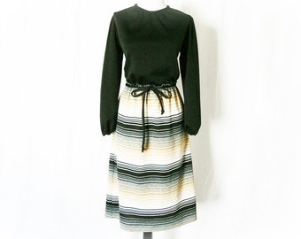 Vintage 60s Mod Ombre Striped Skirt Dress L Black Top Belted Genie Sleeves