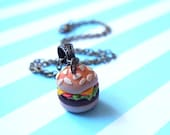 Miniature Hamburger Necklace ( food miniature gift for her food necklace mini food jewelry fast food brass necklace bronze necklace )