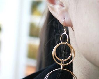 Gold Circle Dangle Earrings. Long Earrings. Gold Earrings. Multi Circle. Simple Earrings. Everyday Jewelry. Minimalist. Long Earrings. Gift