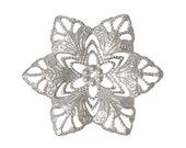 Filigree : 10 Antique Silver Filigree Flower Wraps Connectors | Filigree Metal Stampings | Links ... Lead, Nickel & Cadmium Free 46082.T
