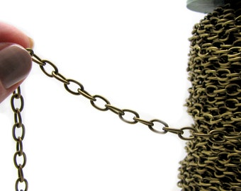 Chain : 10 feet Antique Brass Cable Chain | Bronze Oval Link Chain 5.2mm x 7.8mm x 1.2mm -- Lead, Nickel & Cadmium Free 92937.10