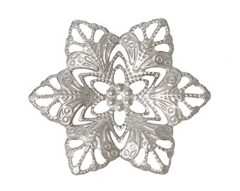 Filigree : 10 Antique Silver Filigree Flower Wraps Connectors   Filigree Metal Stampings   Links ... Lead, Nickel & Cadmium Free 46082.T