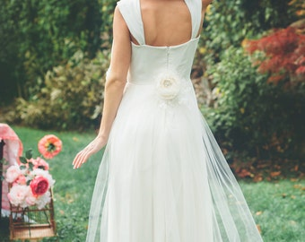 Detachable Wedding Gown Train with Silk Flower and Lace Detail -Istanbul