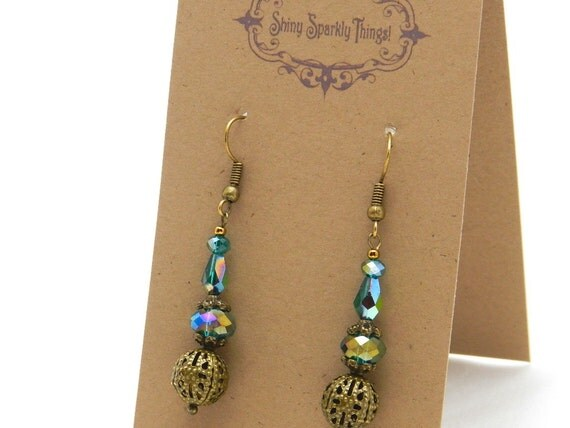 Iridescent green earrings with filigree - special holiday price! SST3095