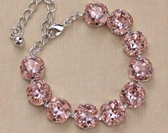 Large Dusky French Rose Cushion Rhinestone Bracelet,Swarovski Tennis Bracelet,Blush Pink,Large Tennis Bracelet,Silver,4470 12mm,Bridesmaids