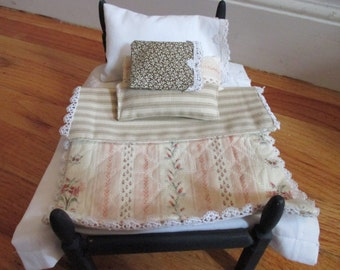 Blue Hand Painted Doll Bed With Pink Custom Made Bedding Doll Furniture YourFineHouse SHIPSWORLDWIDE