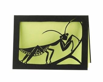 Praying mantis laser cut card