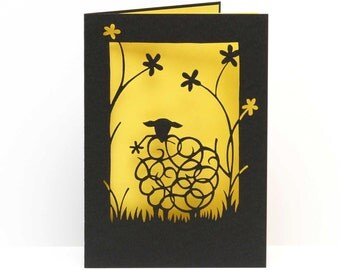 Sheep with flower laser cut card