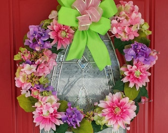 Hydrangea Spring Summer Sunflower Wreath