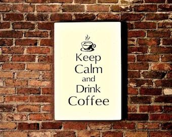 Wood Sign Keep Calm and Drink Coffee Sign -  Kitchen Decor -  Coffee Signs - Keep Calm Sign - Coffee House Decor - Coffee Shop Decor