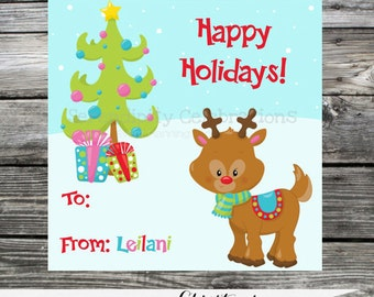 Set of 12 Personalized Favor Tags -Reindeer Christmas -Thank You Tag -Gift Tag -Baby Shower -Birthday-Sticker-School treats -holiday