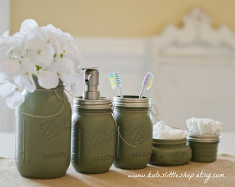 Mason Jar Bathroom Kit Peach Ball Mason Jars Rustic Home