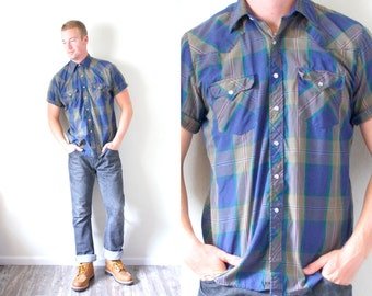 Retro vintage mens hipster wrangle style shirt // Navajo // striped dark blue faded shirt // southwestern shirt // button up short sleeve