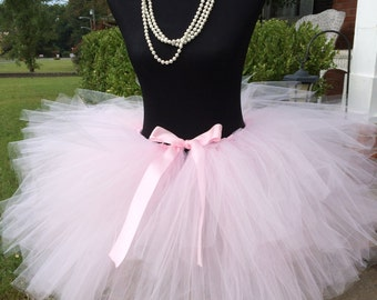 "Light Pink Adult Tutu Waist 40 1/2"" to 45""  great for Mommy & Me photos, birthdays, dance, brides and bridesmaidsand bachelorette parties"