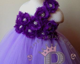 Lavender flower girl dress adorned with purple flowers, tutu dress. www.theprincessandthebou.etsy.com