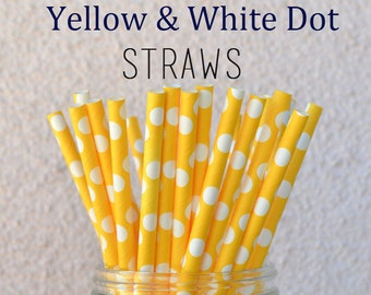CLEARANCE SALE - 25 Yellow Polka Dot Paper Straws - Set of 25 Dotted Straws - Great for Parties