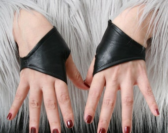 Genuine Leather Lambskin Punk Half Cropped Fingerless Mini Gloves XXS (16cm to 16.5cm)