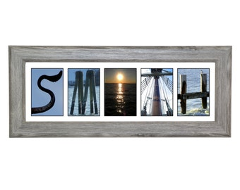 Framed Name Sign - Beach Nautical Alphabet Photography for a Personalized Wedding Gift  ~ Exclusively by Creative Letter Art©