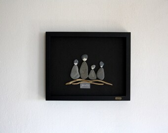 family,driftwood and pebbles collage,natural stones,shadow box,romantic home decor, wedding gift,driftwood art,love collage