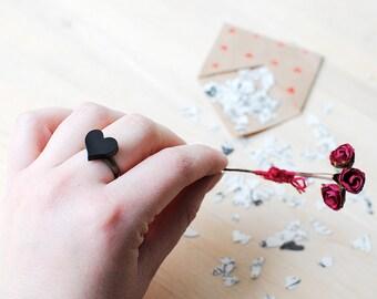 Black Heart Ring | Valentines Gift | Nickel Free Studs