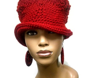 PATTERN ONLY Instant Pdf Download Loom knit and Crochet Cloche/Flapper with shapeable brim Photo Tutorial