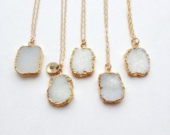Crystal Necklaces, Personalized Necklace, Druzy Jewelry, Drusy, Fall Fashion, Personalised Jewellry, Gold Jewelry, Initial Jewelry