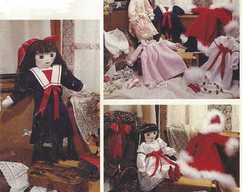 80s Victorian Doll Package Fabric Stuffed Doll and Clothes McCalls Crafts Sewing Pattern 4344 UnCut Rag Doll Patterns