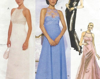 90s Womens Lined Evening Dresses and Bag McCalls Sewing Pattern 2529 Size 8 10 12 Bust 31 1/2 to 34 UnCut Prom Dress or Bridesmaid Dress