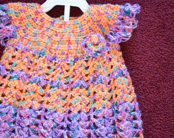 Crochet Baby Dress, Orange and Lavender Baby Dress, Baby Dress with Head Band