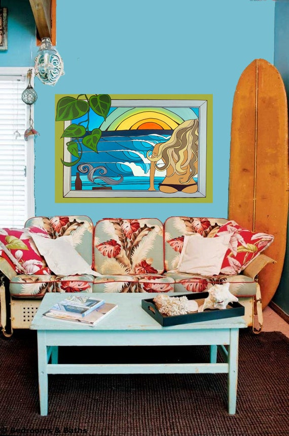 20x30 Canvas Surfer Girl Sunset Painting in Tropical Location Canvas Print by Lauren Tannehill ART