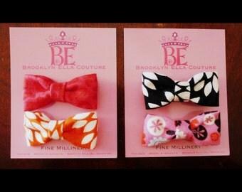 Soft Fabric Hair Bow or Bow Tie : 1 fabric medium size bow - you choose style, Hair Clip, Fabric Hair Bow