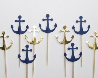 24 Navy Blue and Gold Foil Cupcake Toppers, Food Picks, Party Picks, Birthday Parties, Baby Shower