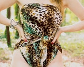 Large Bathing Suit Leopard Turquoise Animal Print Wrap Around Swimsuit Classic One Piece Swimwear for Women, Teens and Maternity