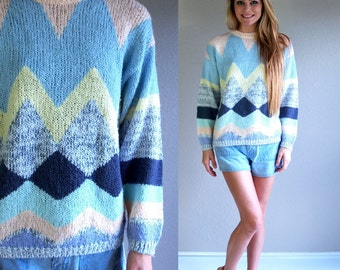vtg 80s PASTEL geometric print KNIT SWEATER Small striped slouchy heathered Cosby indie jumper