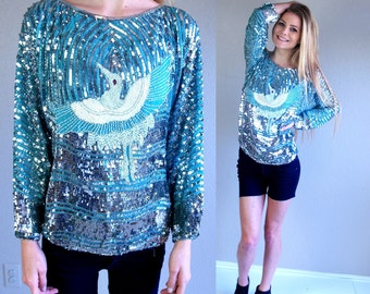 vtg 80s FLYING CRANE aqua SEQUIN Top Medium nye beaded silver phoenix blouse nye shirt silk party statement trophy