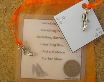 ORANGE Organza Bridal Wedding SIXPENCE Something Old Something New Something Borrowed Something Blue and a Sixpence For Her Shoe