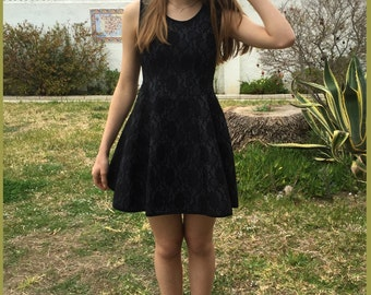 Black dress, short dresses, summer black dress, fitted dress,party dress,bridesmaid dresses, black lace, mod dress,a line,sleeveless
