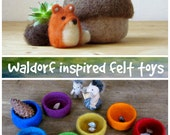 Free Shipping - Felt acorn / Fox miniature / eco friendly felt play set for Waldorf nature table