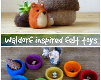 Felt acorn / Fox miniature/ fall gift / eco friendly felt play set for Waldorf nature table
