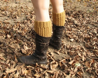 Hand Knitted Openwork Boot Cuffs - Boot Toppers, Leg Warmers - Natural Wool - Winter Accsessories