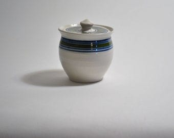 Jamestown Pottery canister with lid signed on the bottom pot