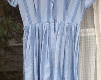 CLEARANCE SALE Vintage Blue and White Dress