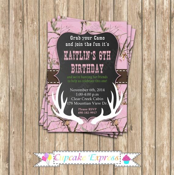 Camo Girl Hunting 6 Birthday Party PRINTABLE Invitation 5x7 – Hunting Party Invitations