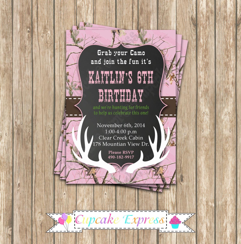 Camo Girl Hunting 6 Birthday Party Printable Invitation 5x7