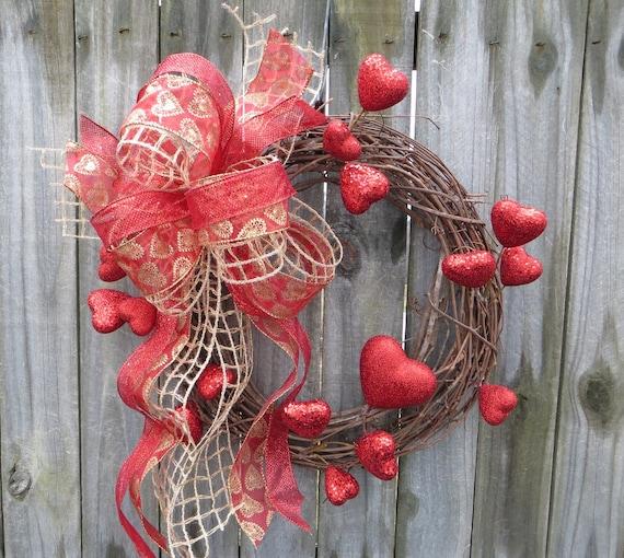 Valentines Wreathvalentines Day Decor Burlap Mesh Wreath