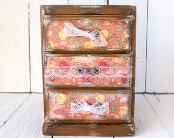 French Country Pink roses shabby chic classic vintage style  wooden Mini chest drawers with mirror jewelry organizer unique gift for her